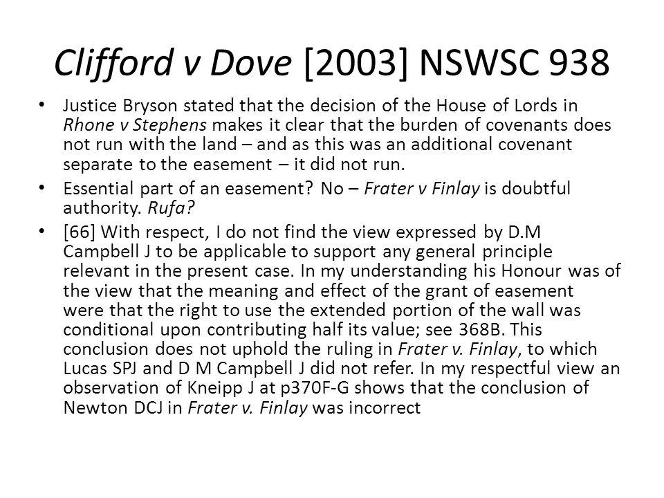Clifford v Dove [2003] NSWSC 938